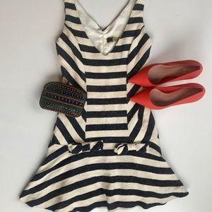 Eva Franco Striped Drop Waist Bow Flare Mini Dress